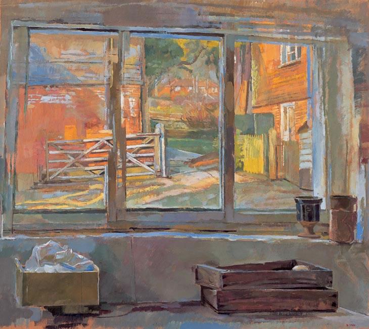 Oak through a Window, oil on 12 panels (79 x 41 cm - 31 x 16.75 ins)