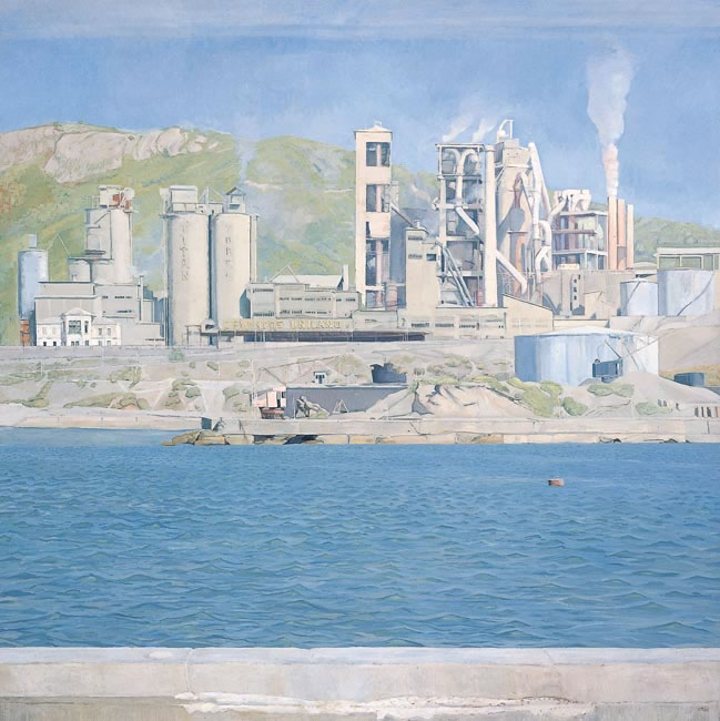 Cement Factory across Water, Valcara, Spain 1976 (127 x 127 cms - 50 x 50 ins)